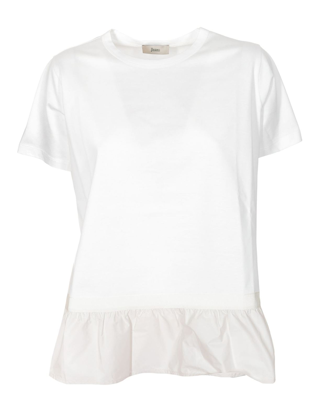 Herno Cottons FLOUNCED T-SHIRT IN WHITE
