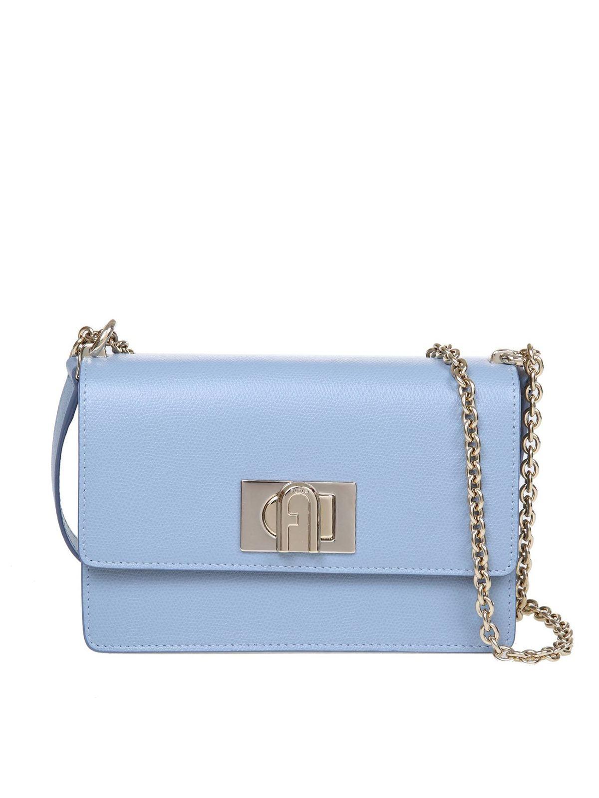 Furla Leathers 1927 MINI CROSSBODY BAG IN LIGHT BLUE