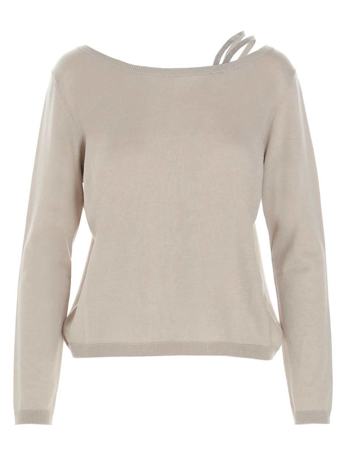 Fabiana Filippi SEQUIN INSERT SWEATER IN BEIGE