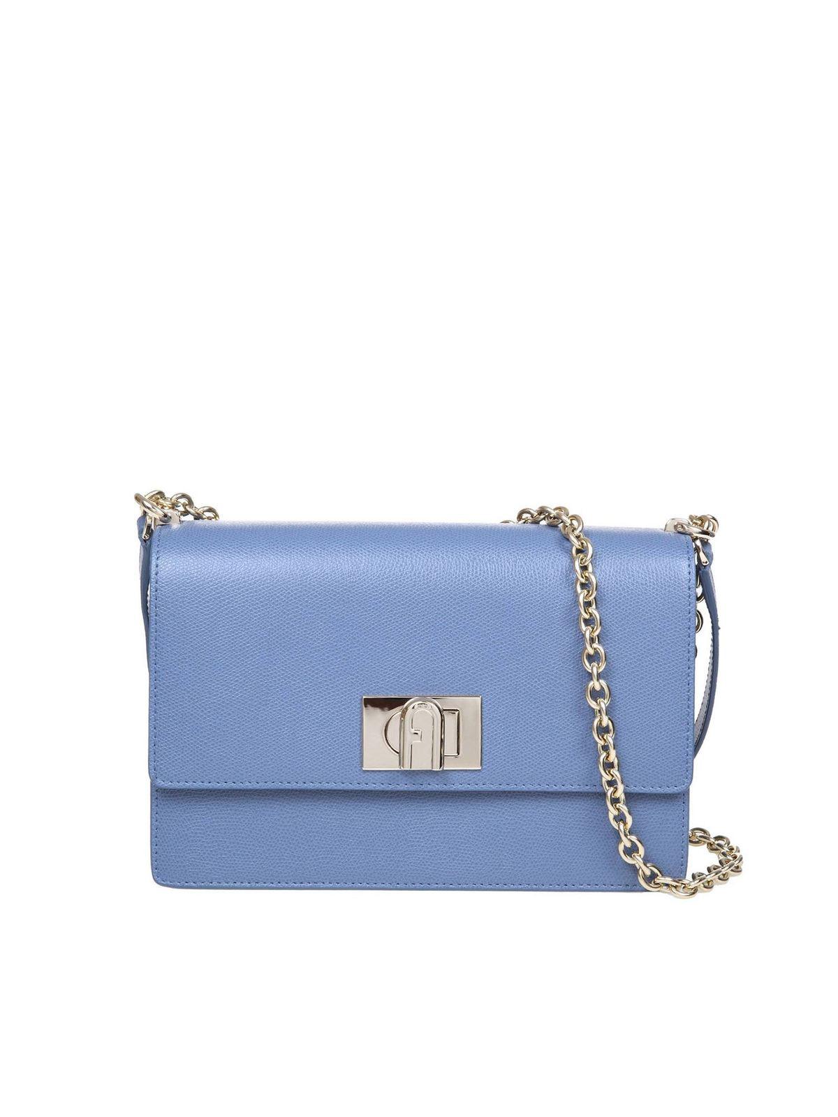 Furla Leathers 1927 MINI CROSSBODY BAG IN DENIM BLUE