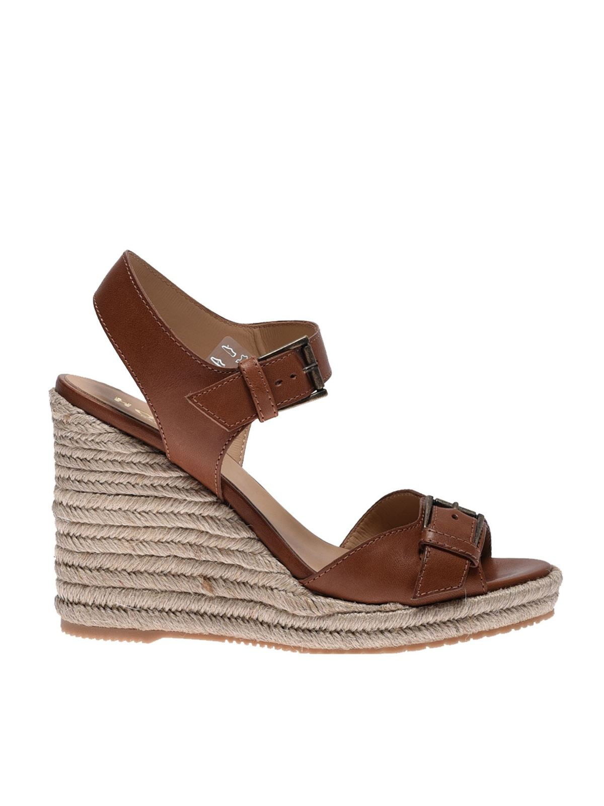Hogan LEATHER AND ROPE WEDGES IN BROWN