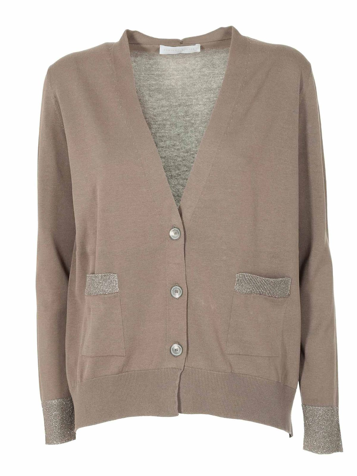Fabiana Filippi EMBELLISHED-POCKETS CARDIGAN IN BROWN