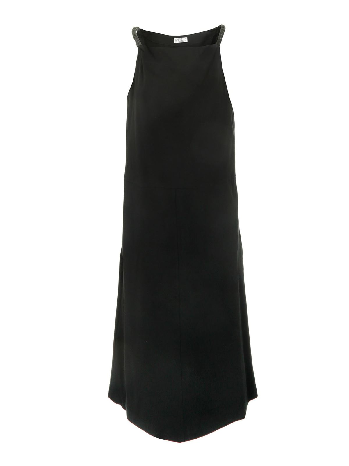 Brunello Cucinelli Cottons HIGHLIGHTS DETAILED DRESS IN BLACK