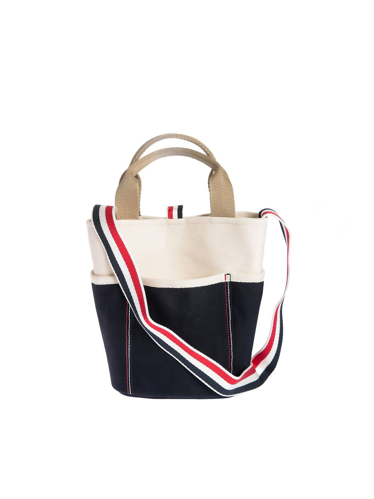 Thom Browne Large Bucket Bag In White And Blue In Cream