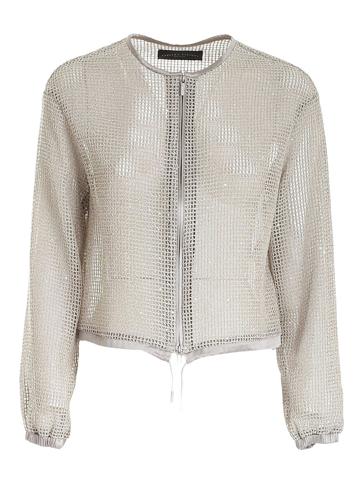 Fabiana Filippi MESH EFFECT JACKET WITH SEQUINS IN BEIGE