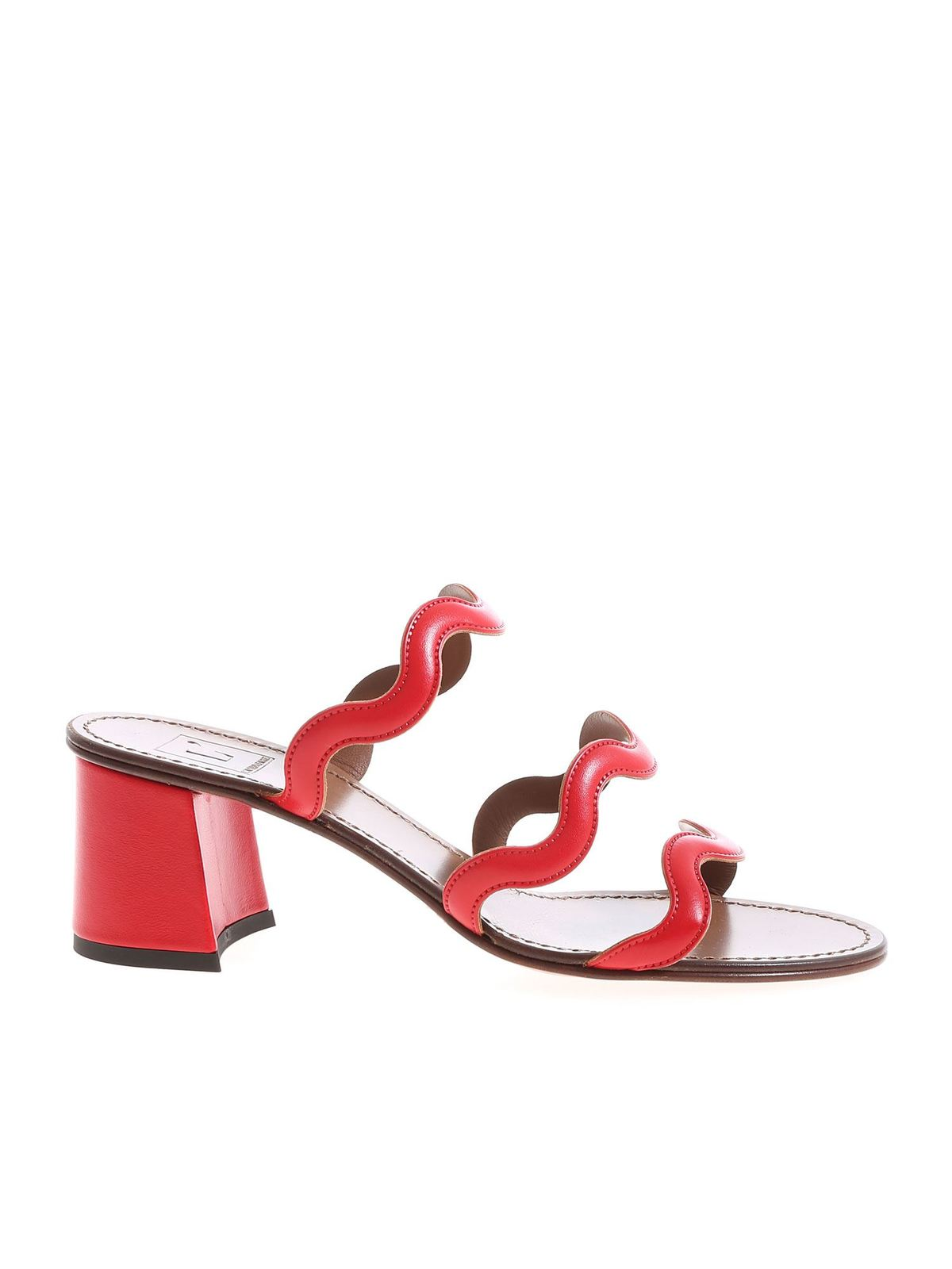 L'autre Chose Leathers BANDS SANDALS IN RED