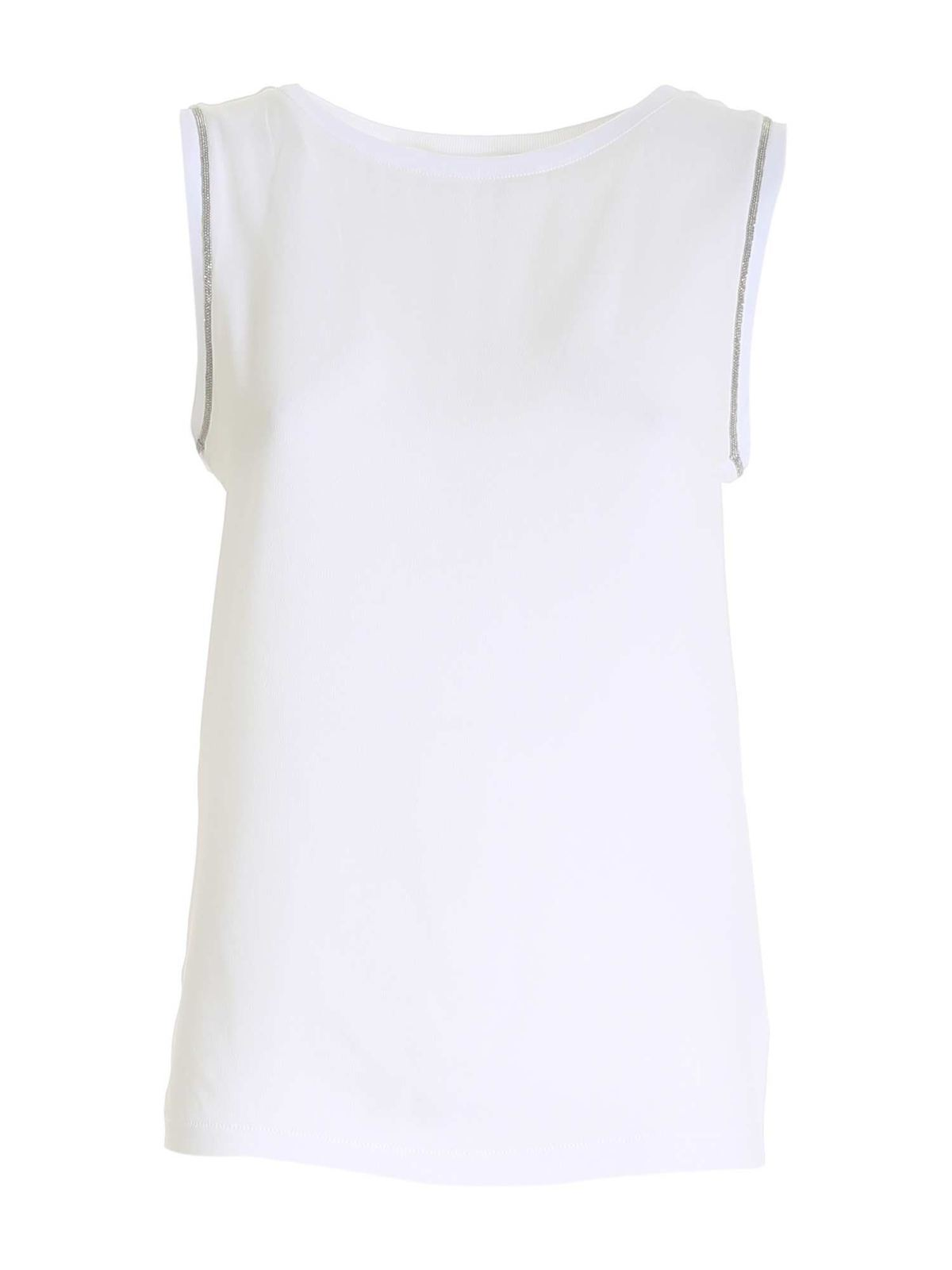 Fabiana Filippi CREPE INSERT TOP IN WHITE