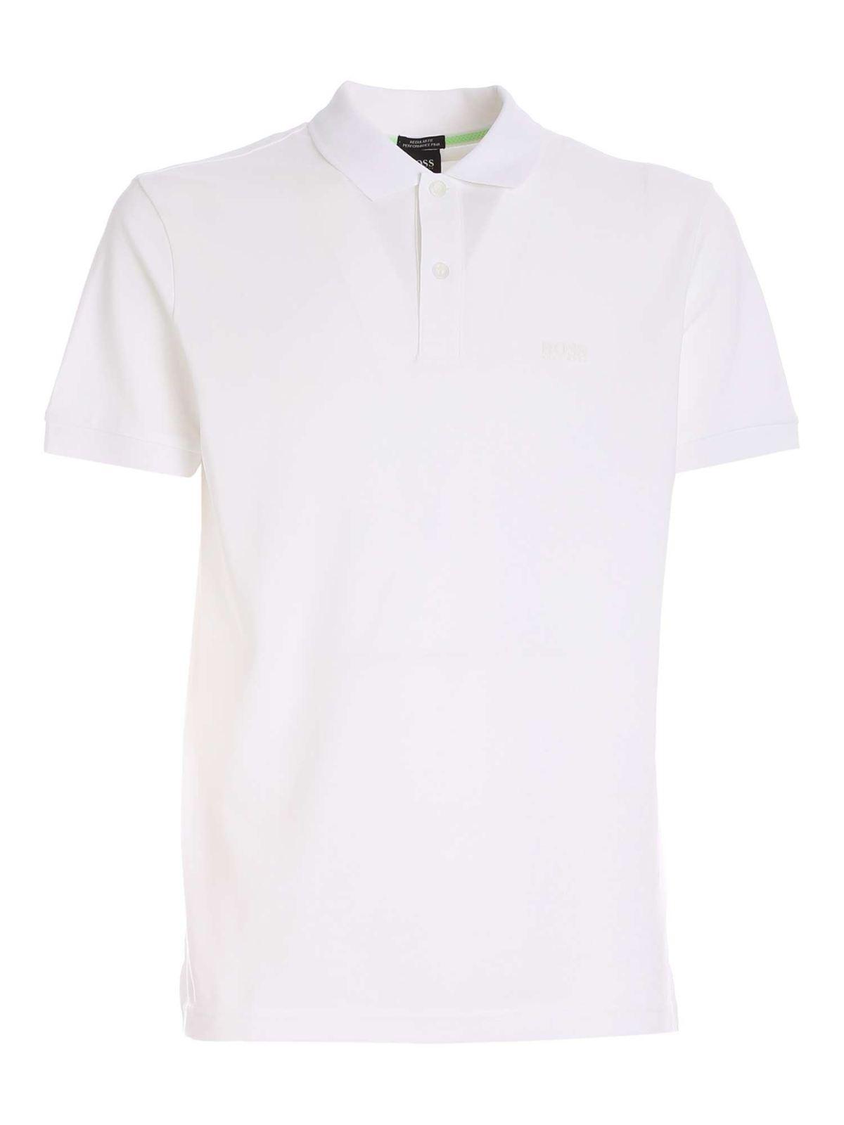 Hugo Boss Cottons PIRO POLO SHIRT IN WHITE