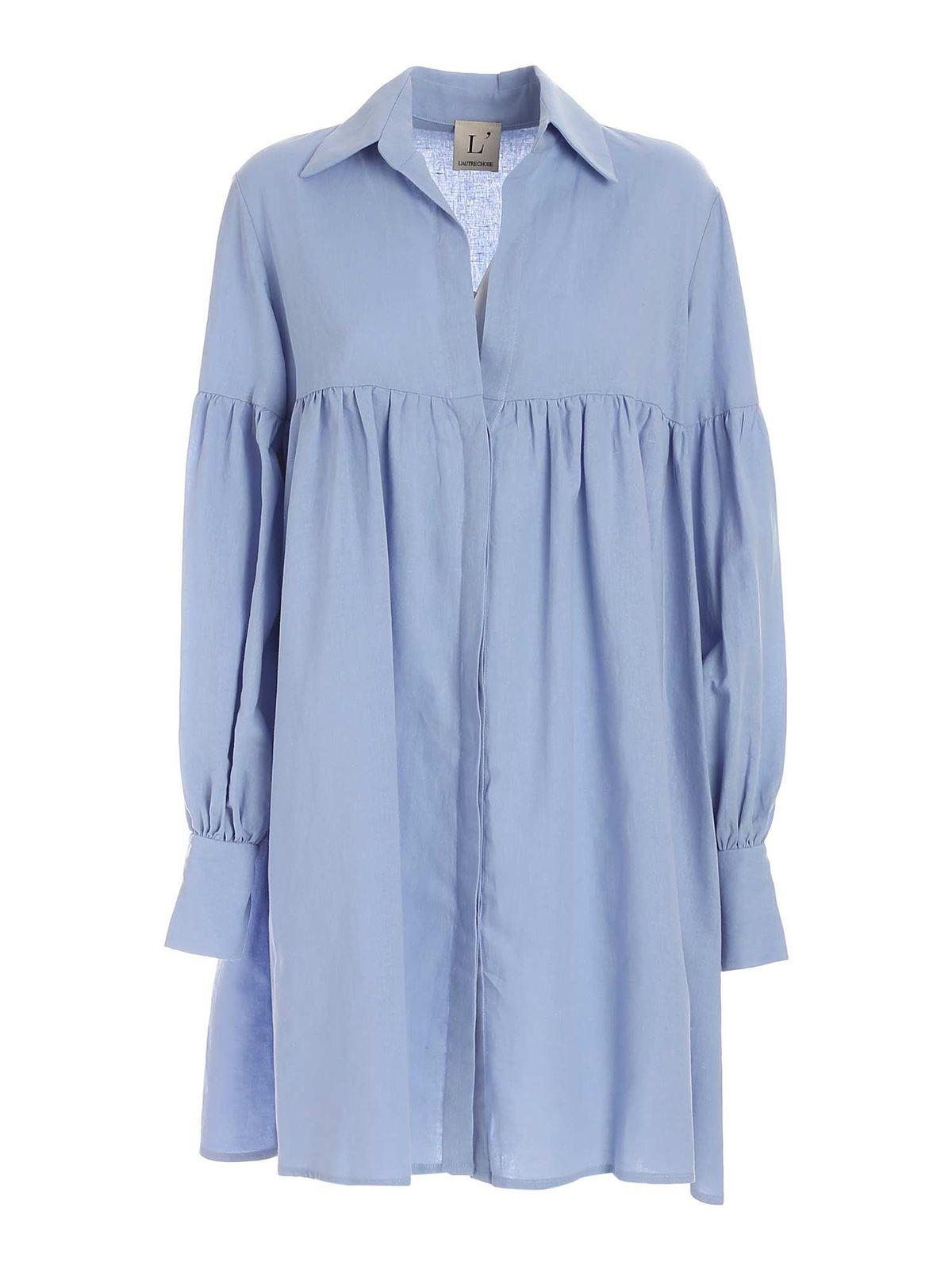 L'autre Chose Cottons OVERSIZED CHEMISIER DRESS IN LIGHT BLUE