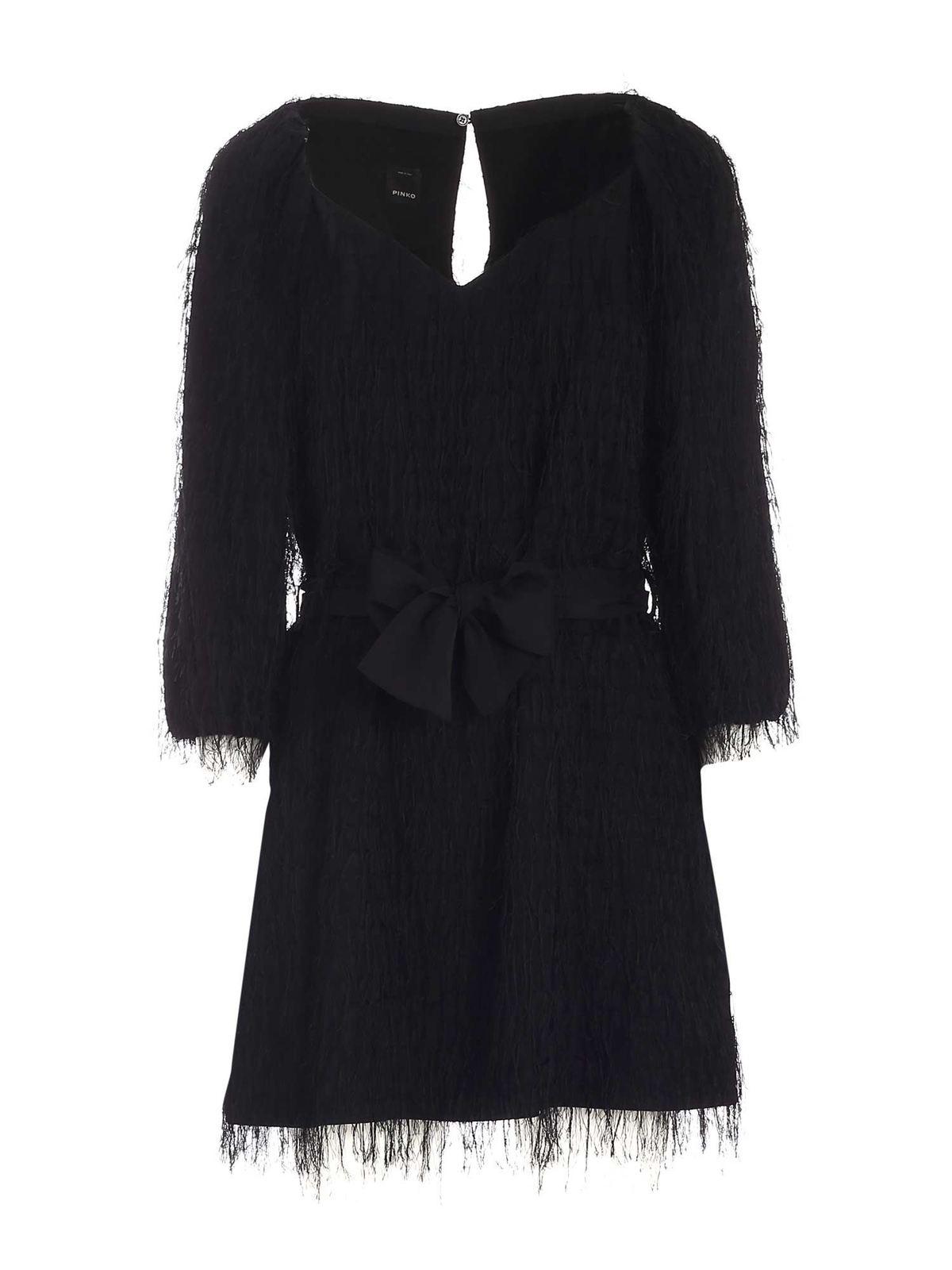 Pinko PRIVILEGIATO FRINGES DRESS IN BLACK