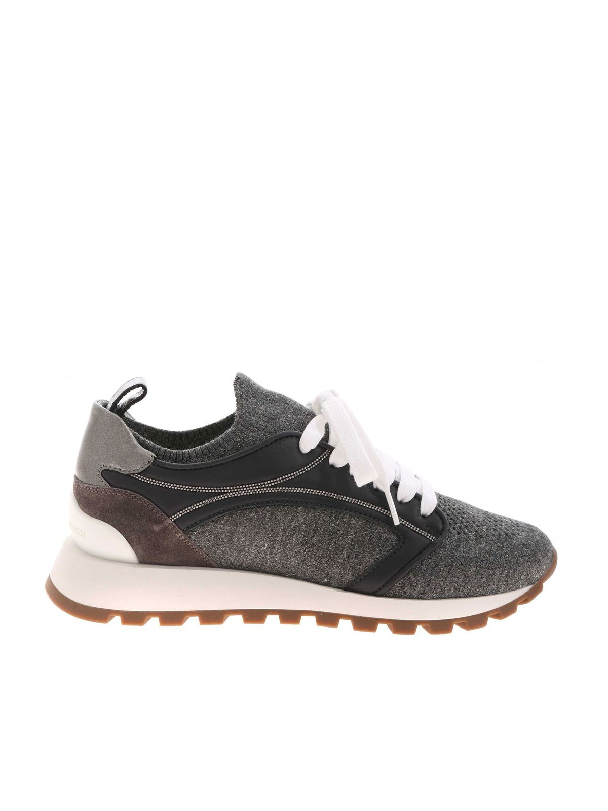 Brunello Cucinelli STRETCH FABRIC AND LEATHER SNEAKERS IN GREY