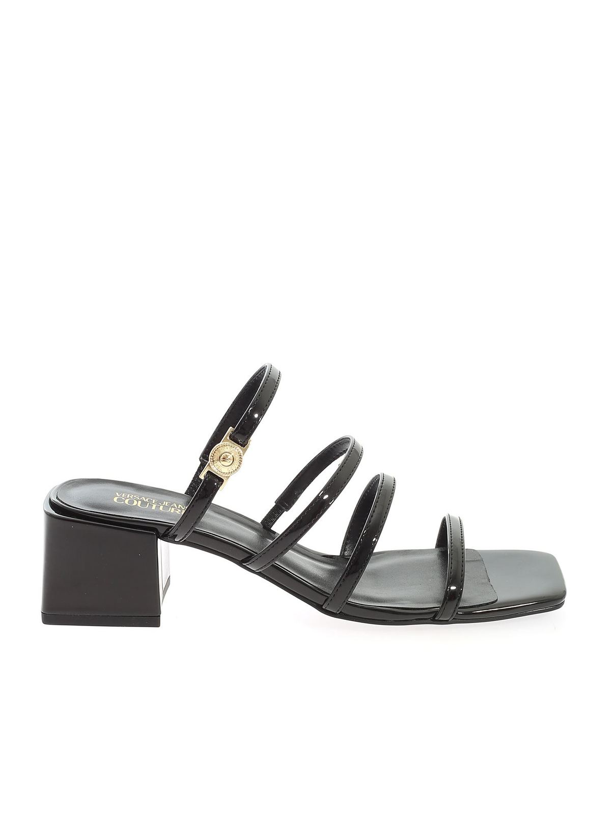 Versace Jeans Couture Mid heels STRIP SANDALS IN BLACK