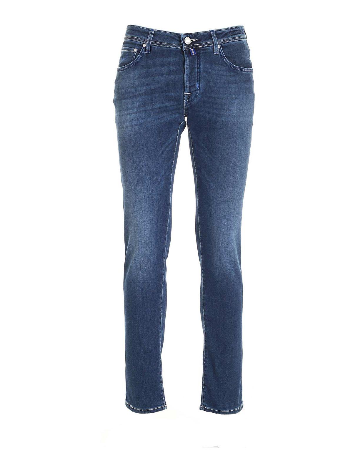 Jacob Cohen Jeans CALFHAIR LOGO JEANS IN BLUE