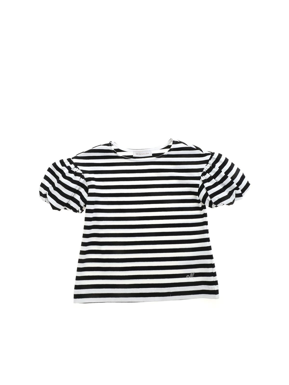 Monnalisa STRIPED T-SHIRT IN BLACK AND WHITE