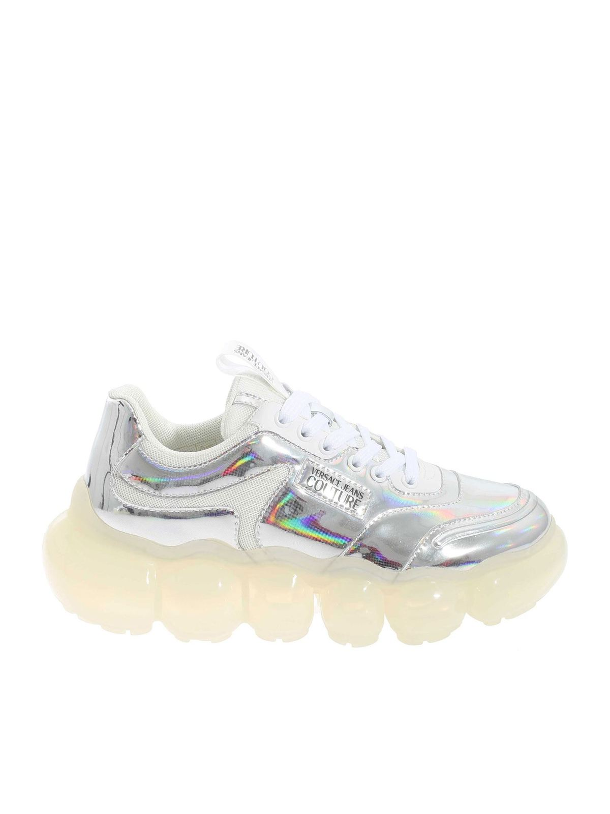 Versace Jeans Couture Bubble Sole Sneakers In Silver Color