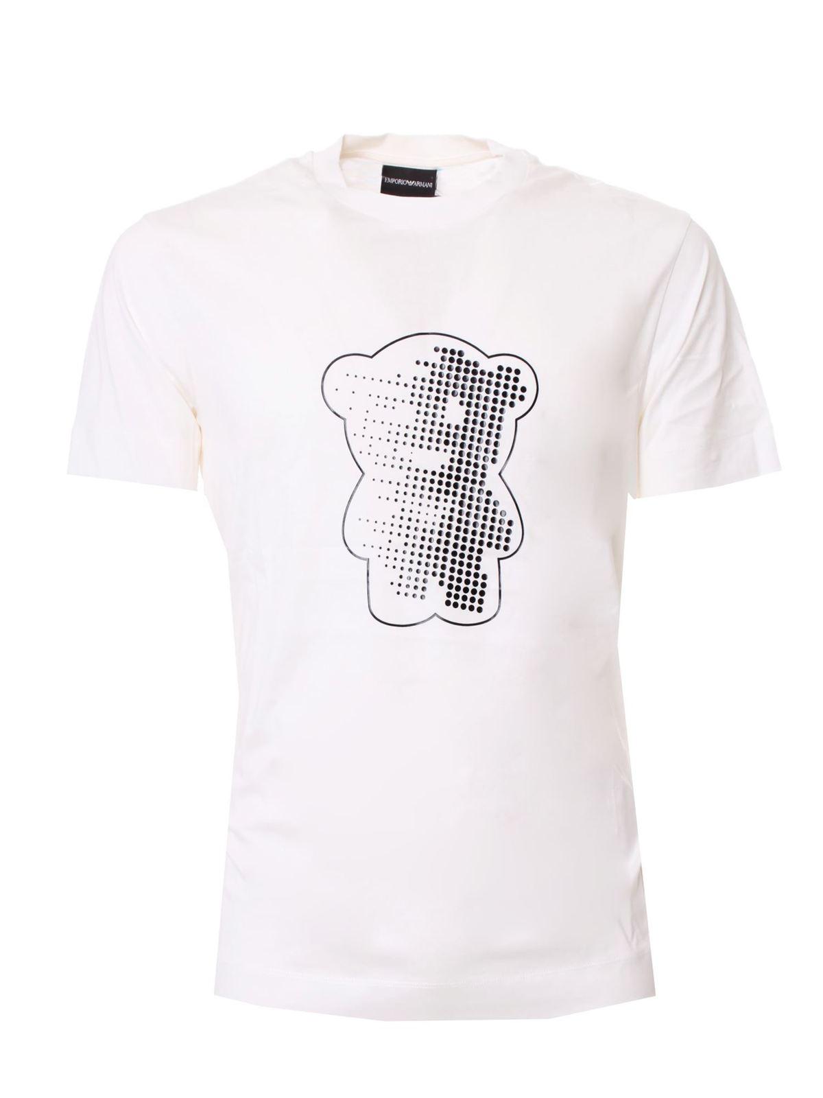 Emporio Armani BLACK PRINT T-SHIRT IN WHITE
