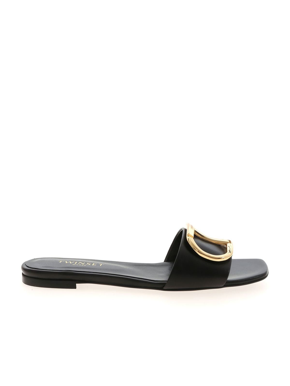Twinset GOLD-COLORED DETAIL MULES IN BLACK