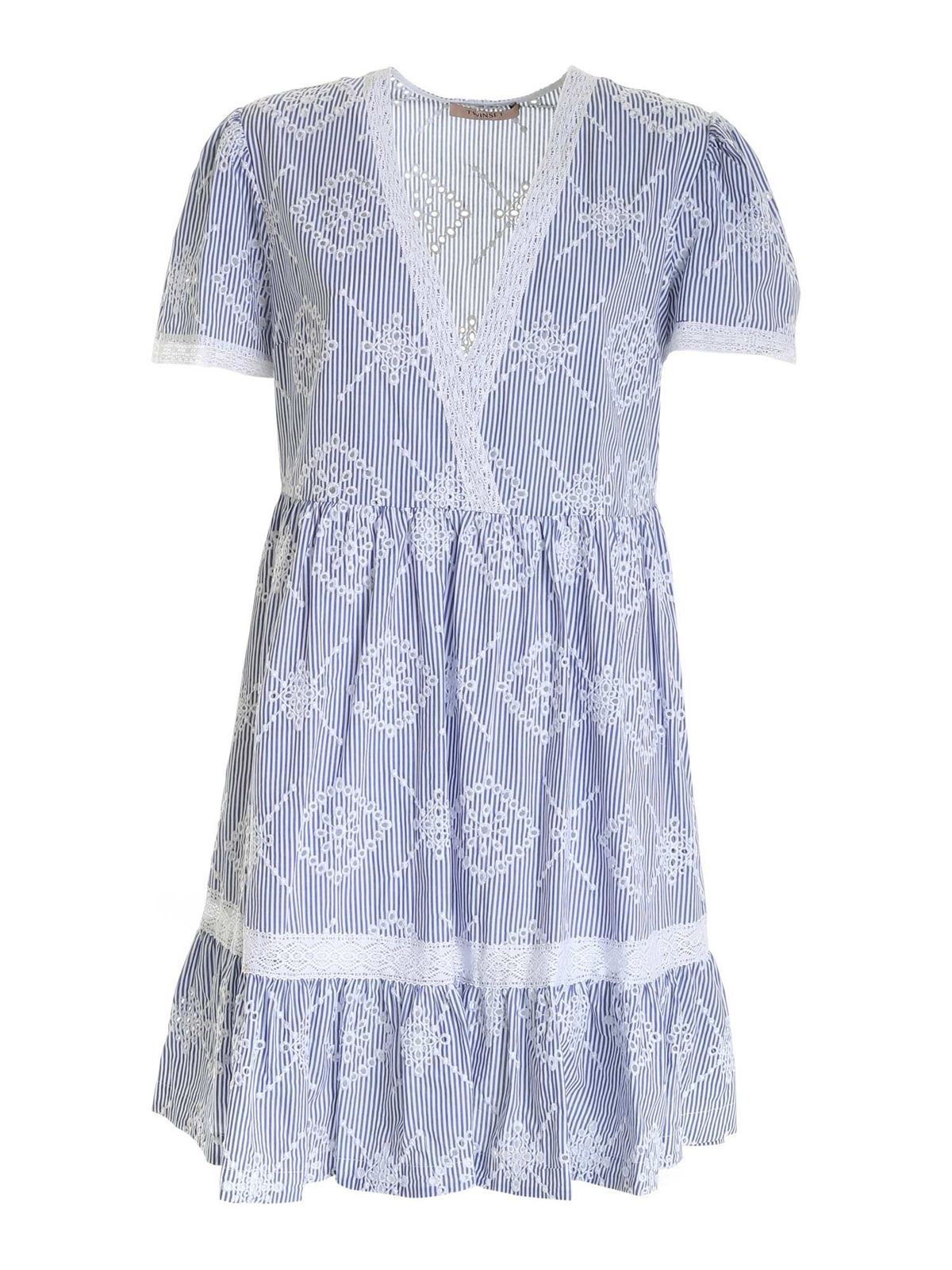 Twinset SANGALLO STRIPED DRESS IN BLUE AND WHITE