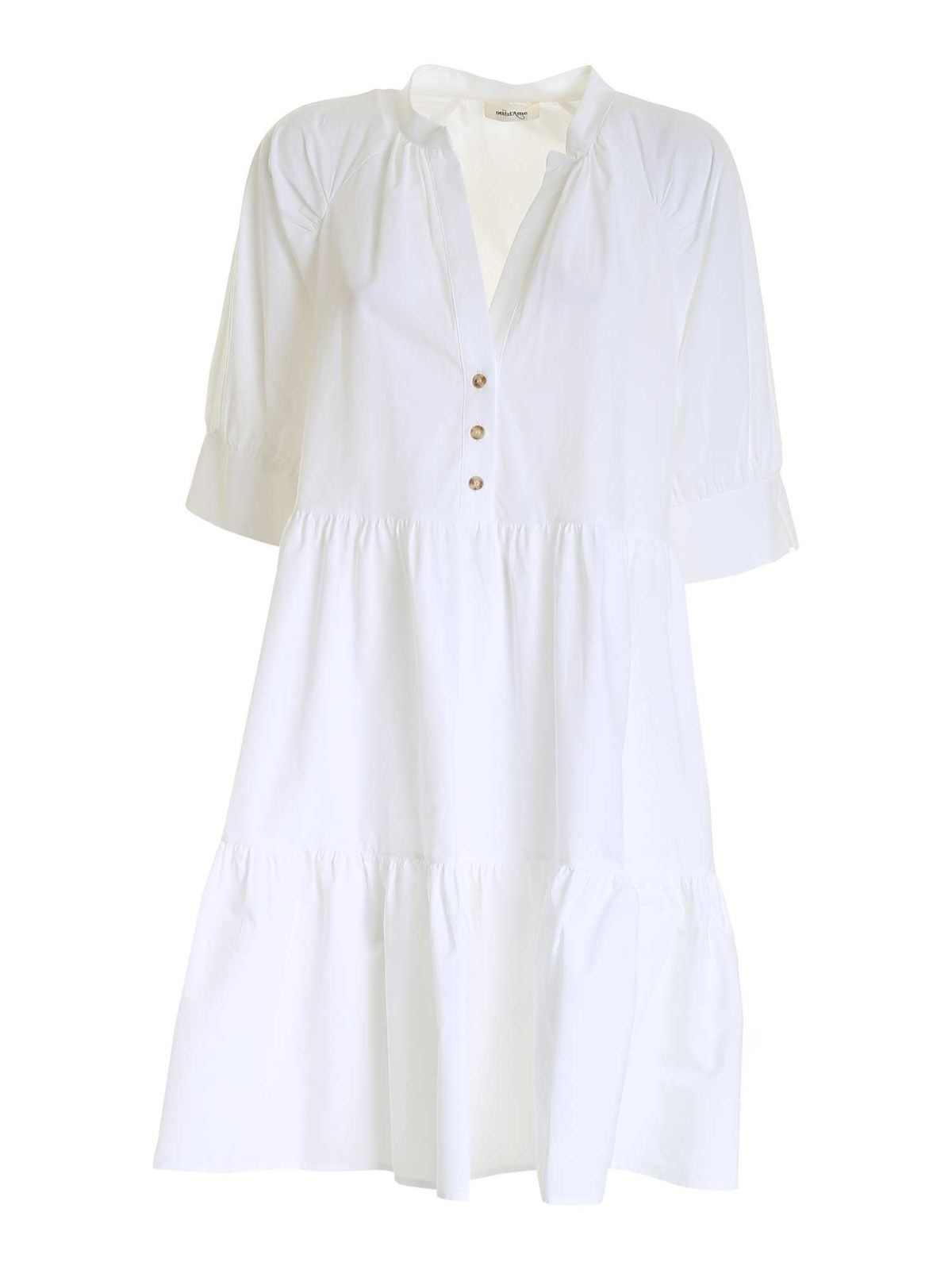 Ottod'ame RAGLAN SLEEVES DRESS IN WHITE