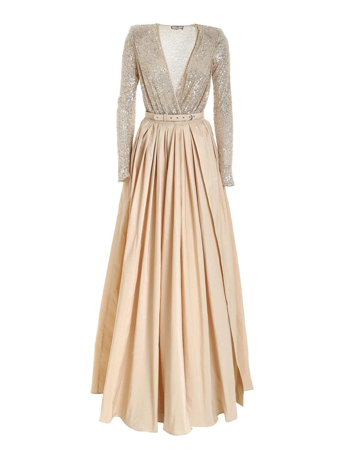Elisabetta Franchi Dresses SEQUINS LONG DRESS IN BEIGE