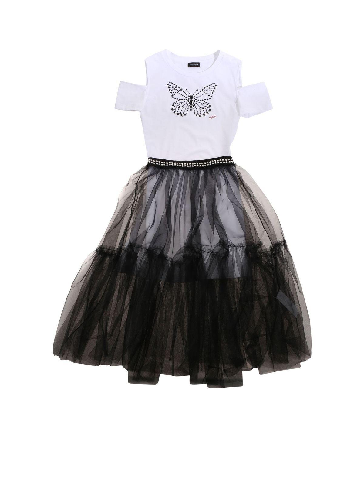 Monnalisa WHITE T-SHIRT AND BLACK SKIRT DRESS