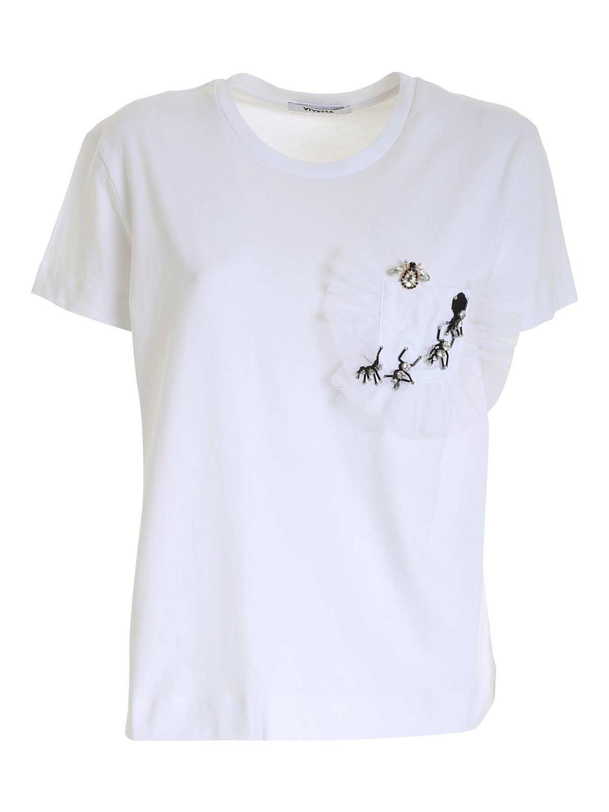 Vivetta DECORATION DETAIL T-SHIRT IN WHITE
