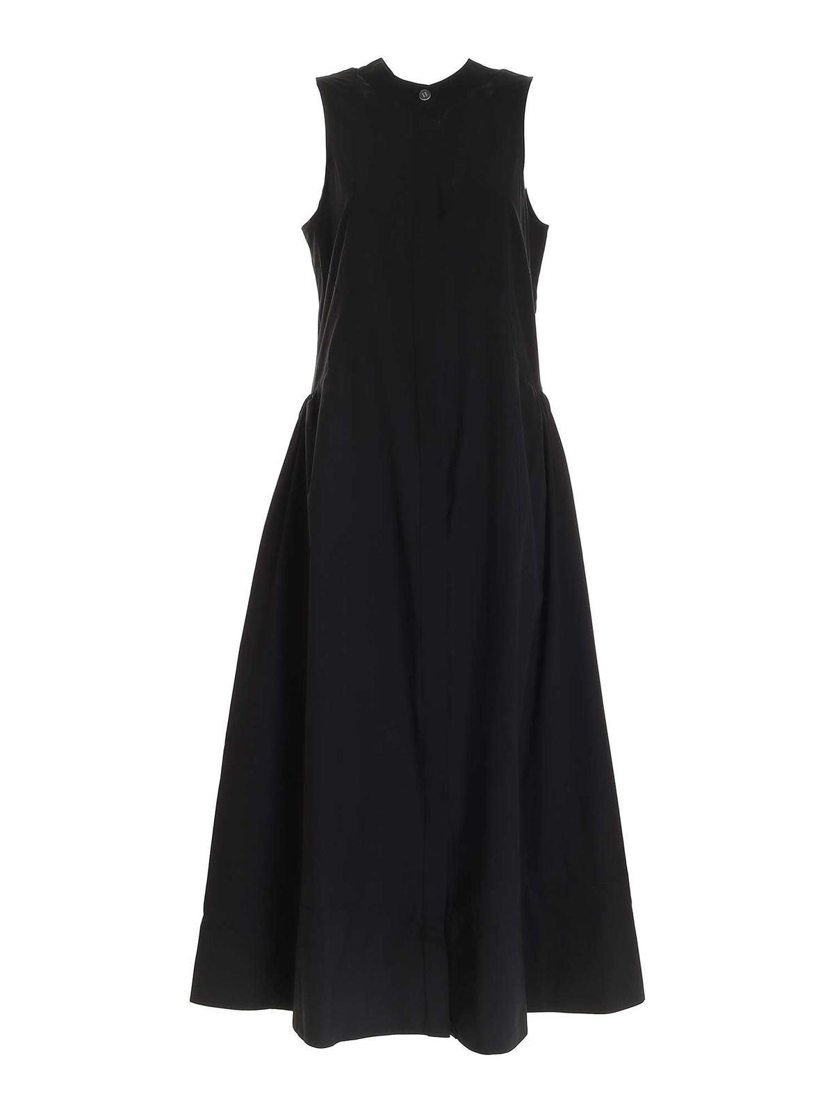 Ottod'ame RIBBON NECKLINE LONG DRESS IN BLACK