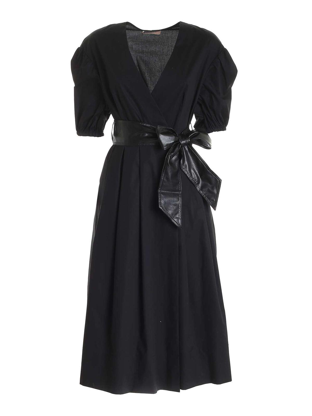 Twinset SASH WRAP DRESS IN BLACK
