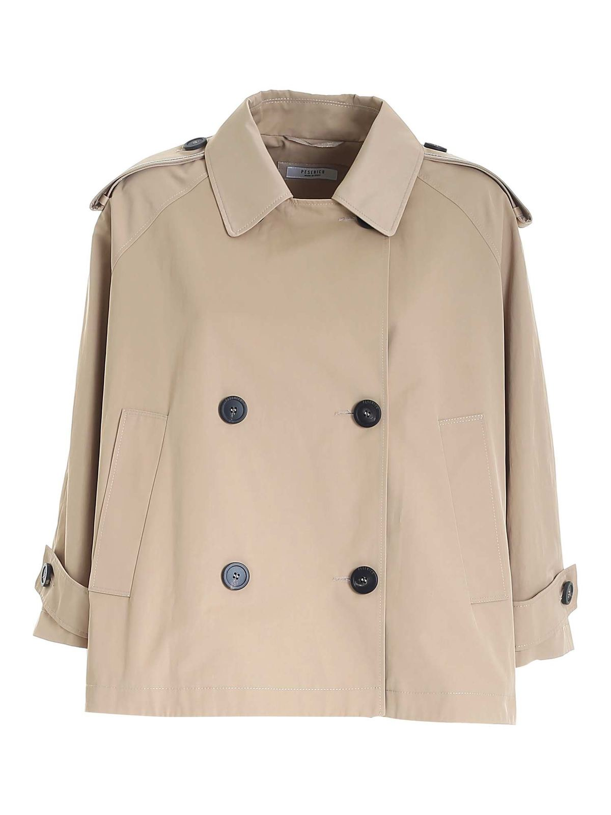 Peserico DOUBLE-BREASTED TRENCH COAT IN BEIGE