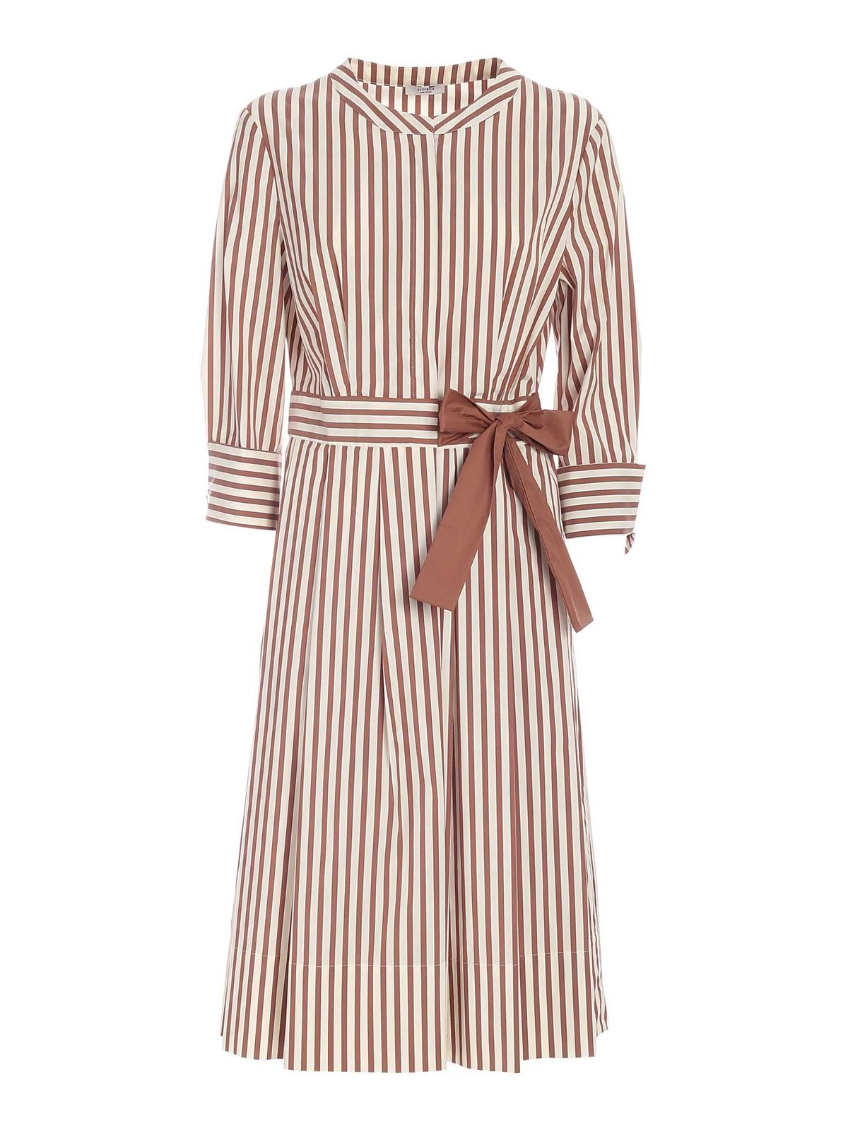 Peserico BOW STRIPED DRESS IN WHITE AND BROWN