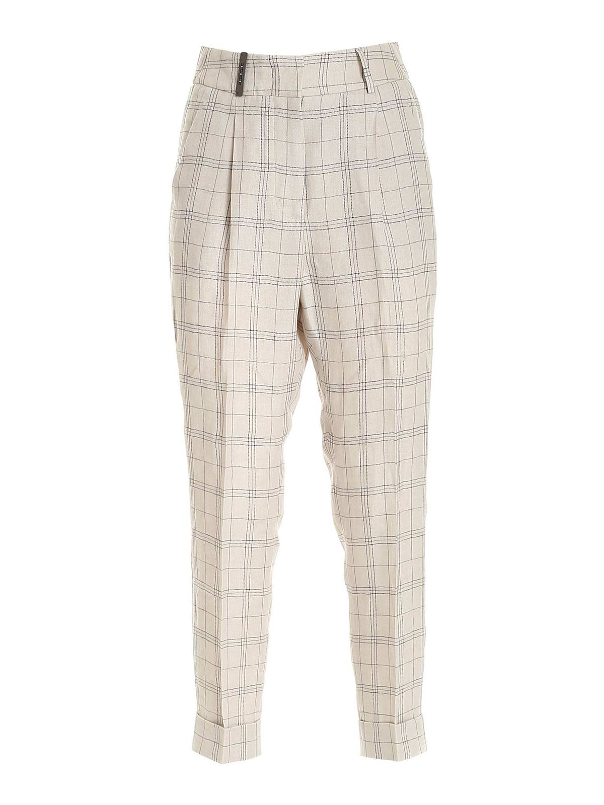 Peserico MICRO BEADS CHECKED PANTS IN BEIGE
