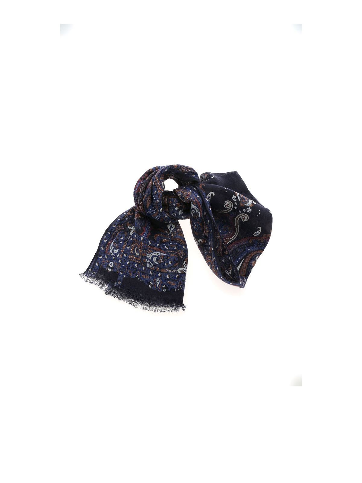 Etro Accessories CONTRASTING FLORAL PATTERN PASHMINA IN BLUE