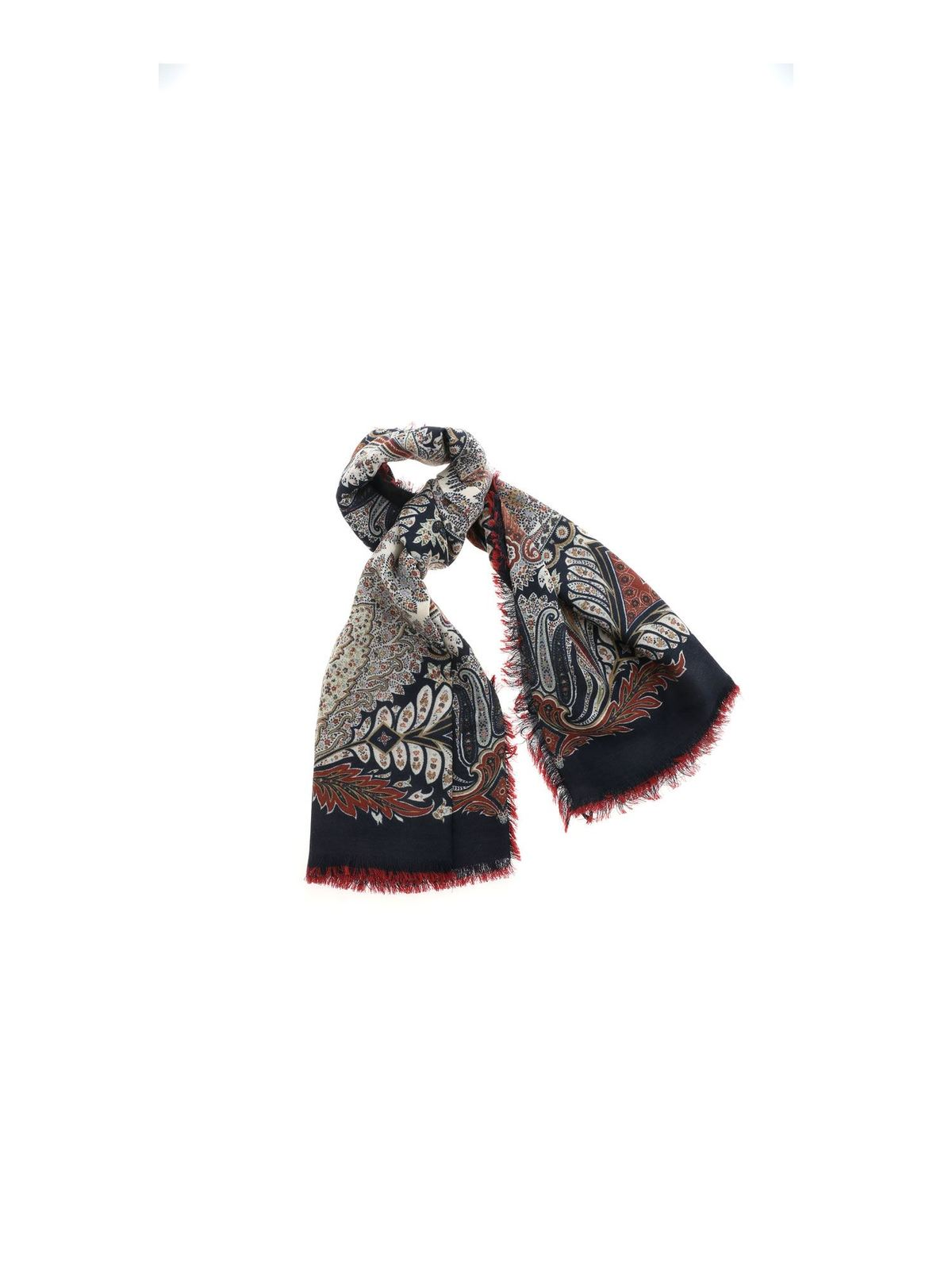 Etro Accessories CONTRASTING PATTERN PASHMINA IN BLUE
