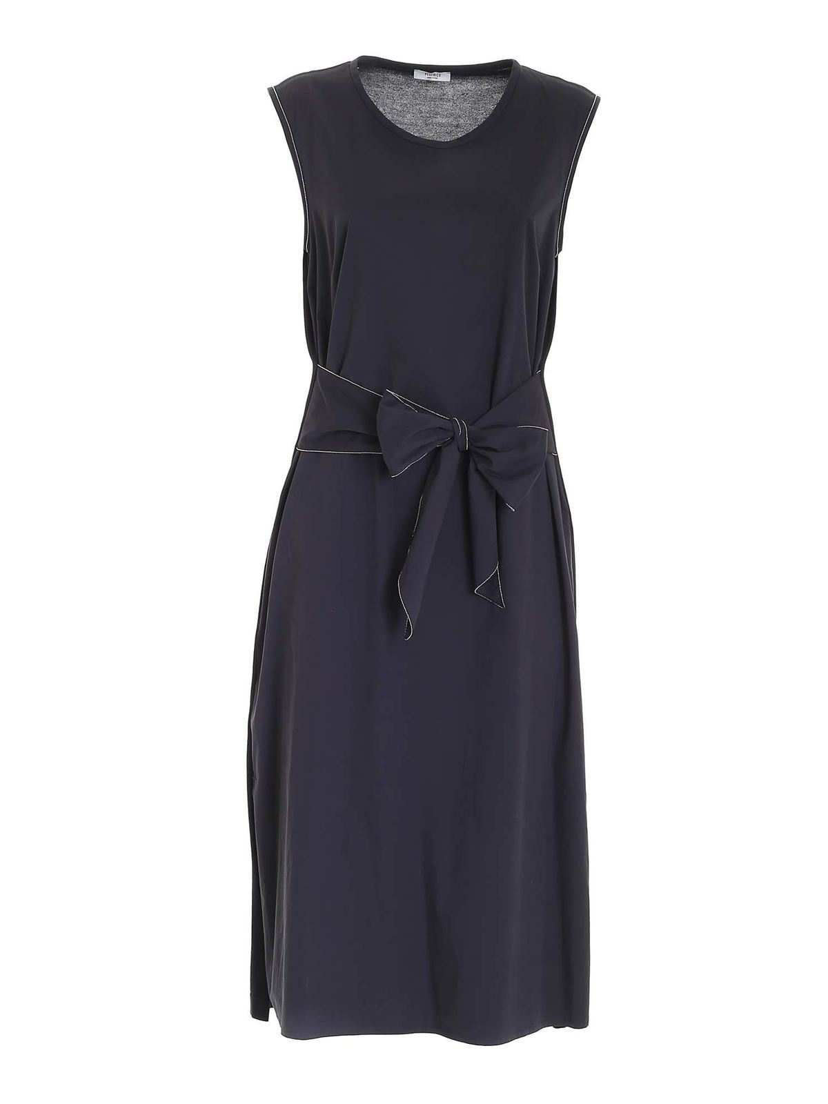 Peserico MICRO BEADS DRESS IN DARK BLUE