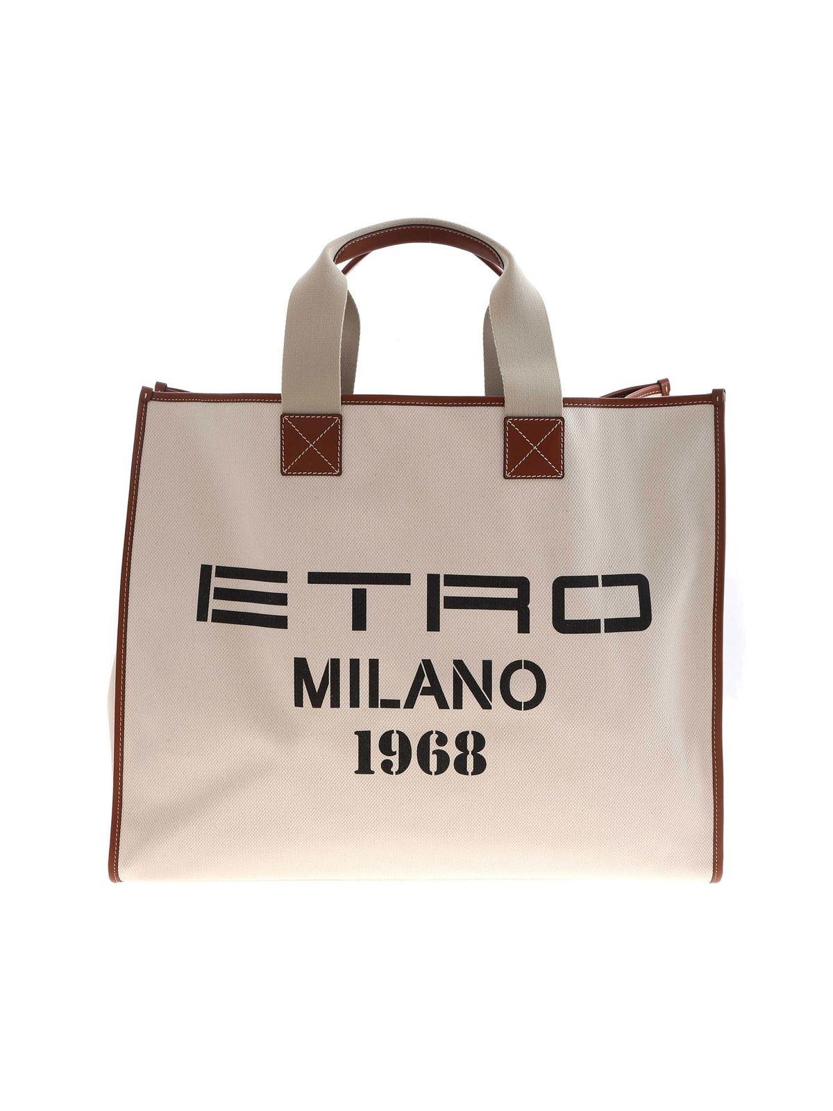 Etro Leathers MAXI LOGO PRINT HANDBAG IN BEIGE