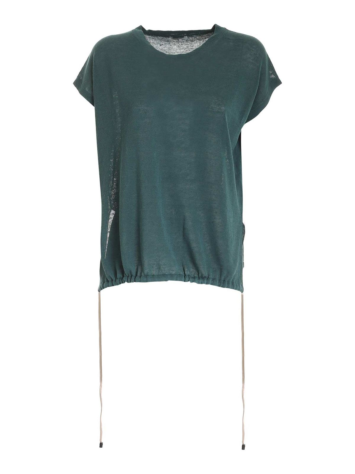 Peserico KNITTED BOXY TOP IN GREEN