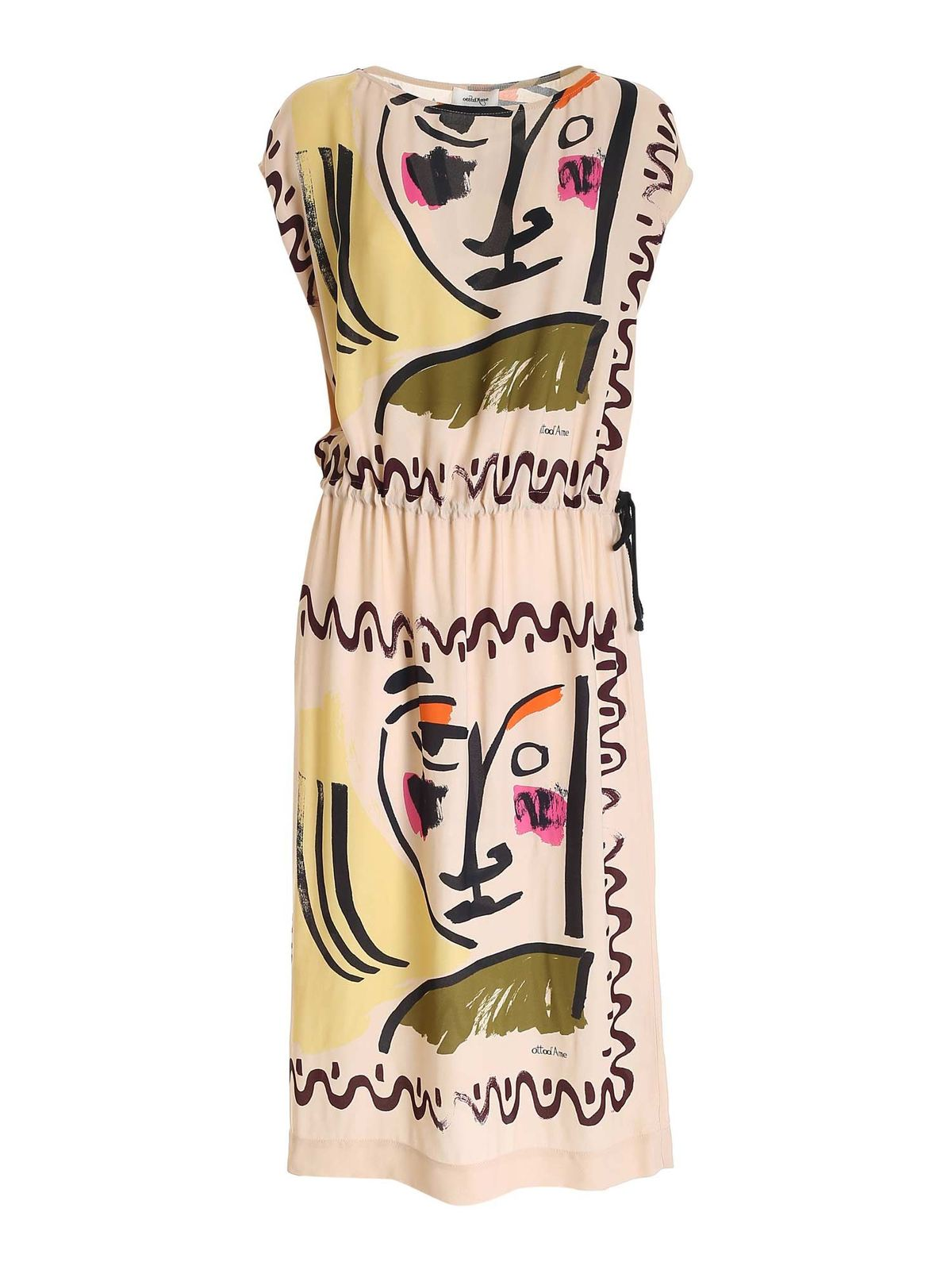 Ottod'ame PRINTED DRESS WITH DRAWSTRING IN BEIGE