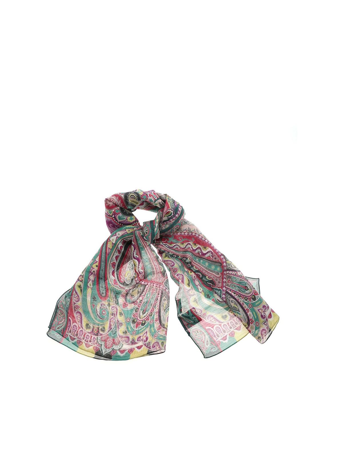 Etro Accessories CONTRASTING PATTERN PASHMINA IN GREEN