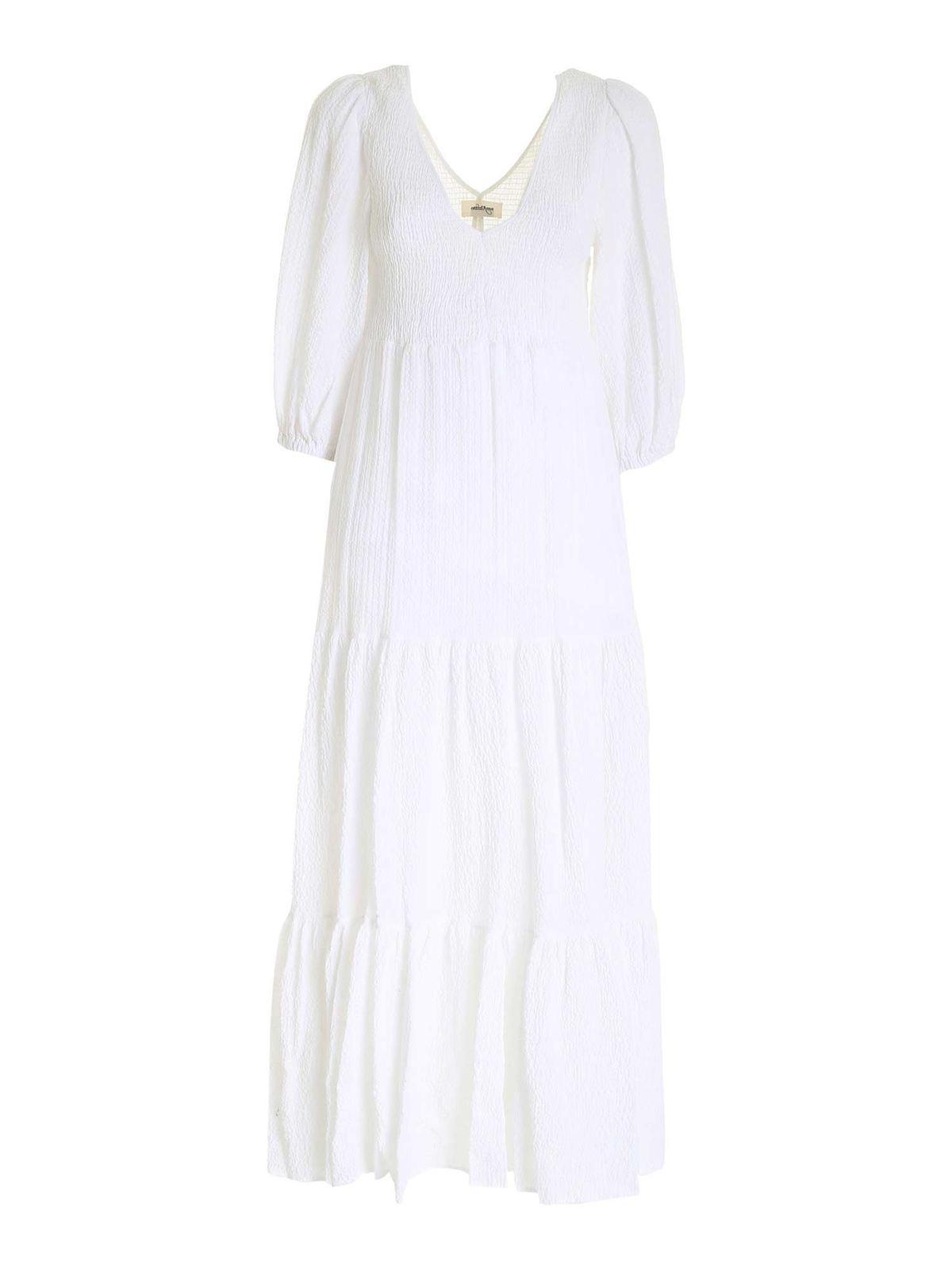 Ottod'ame SEERSUCKER DRESS IN WHITE