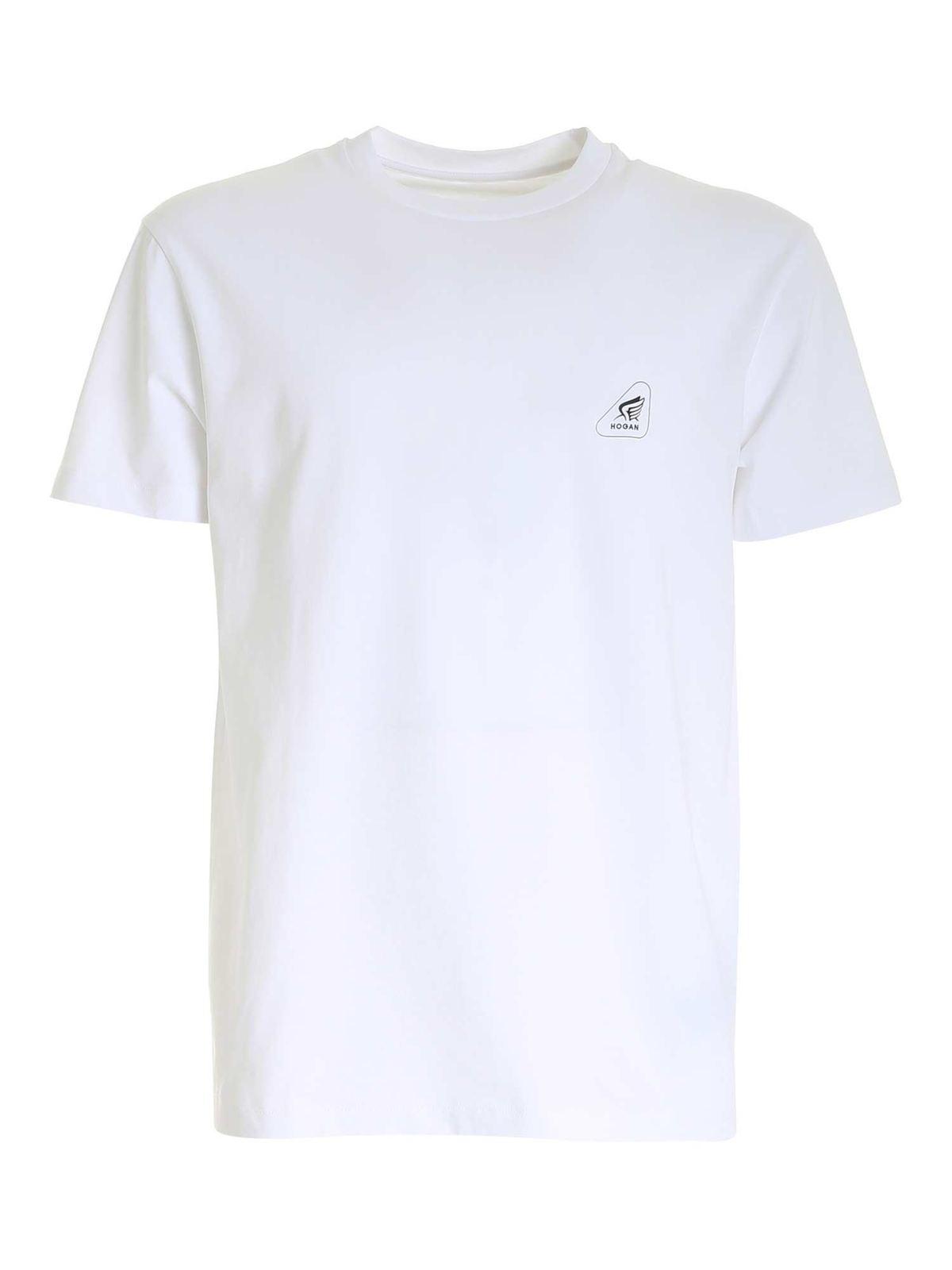 Hogan Shirts BLACK LOGO T-SHIRT IN WHITE