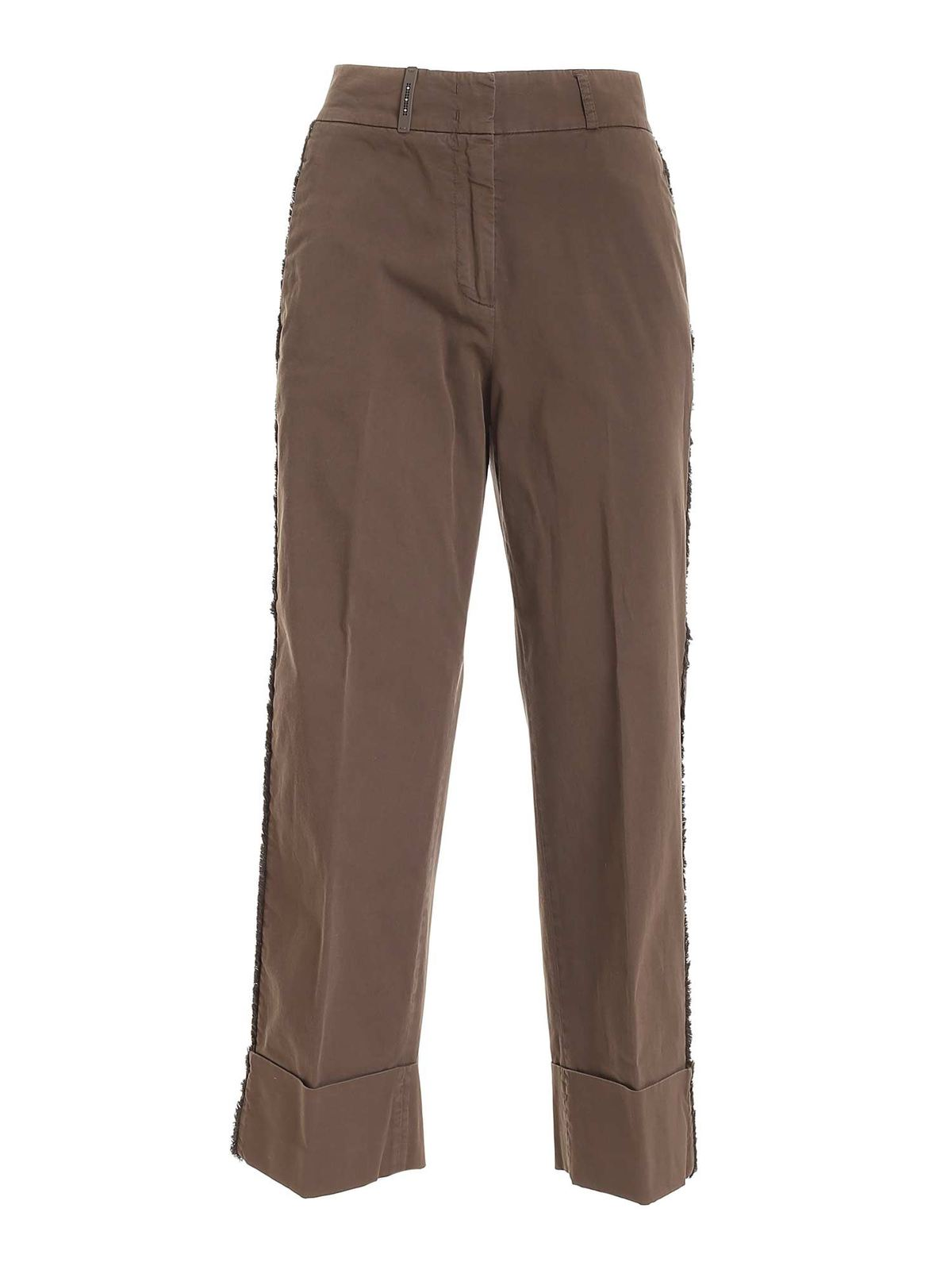 Peserico FRINGED DETAIL PANTS IN BROWN