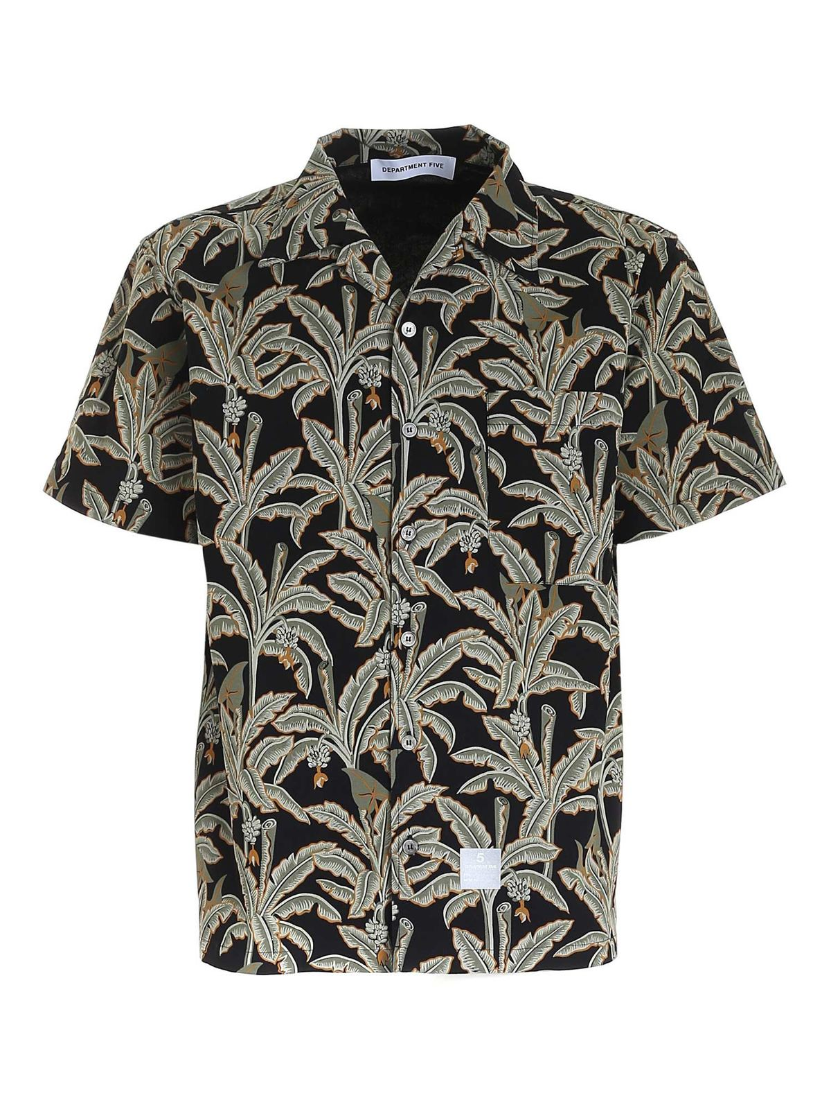 Department 5 Cottons FLORAL PRINT SHIRT IN BLACK