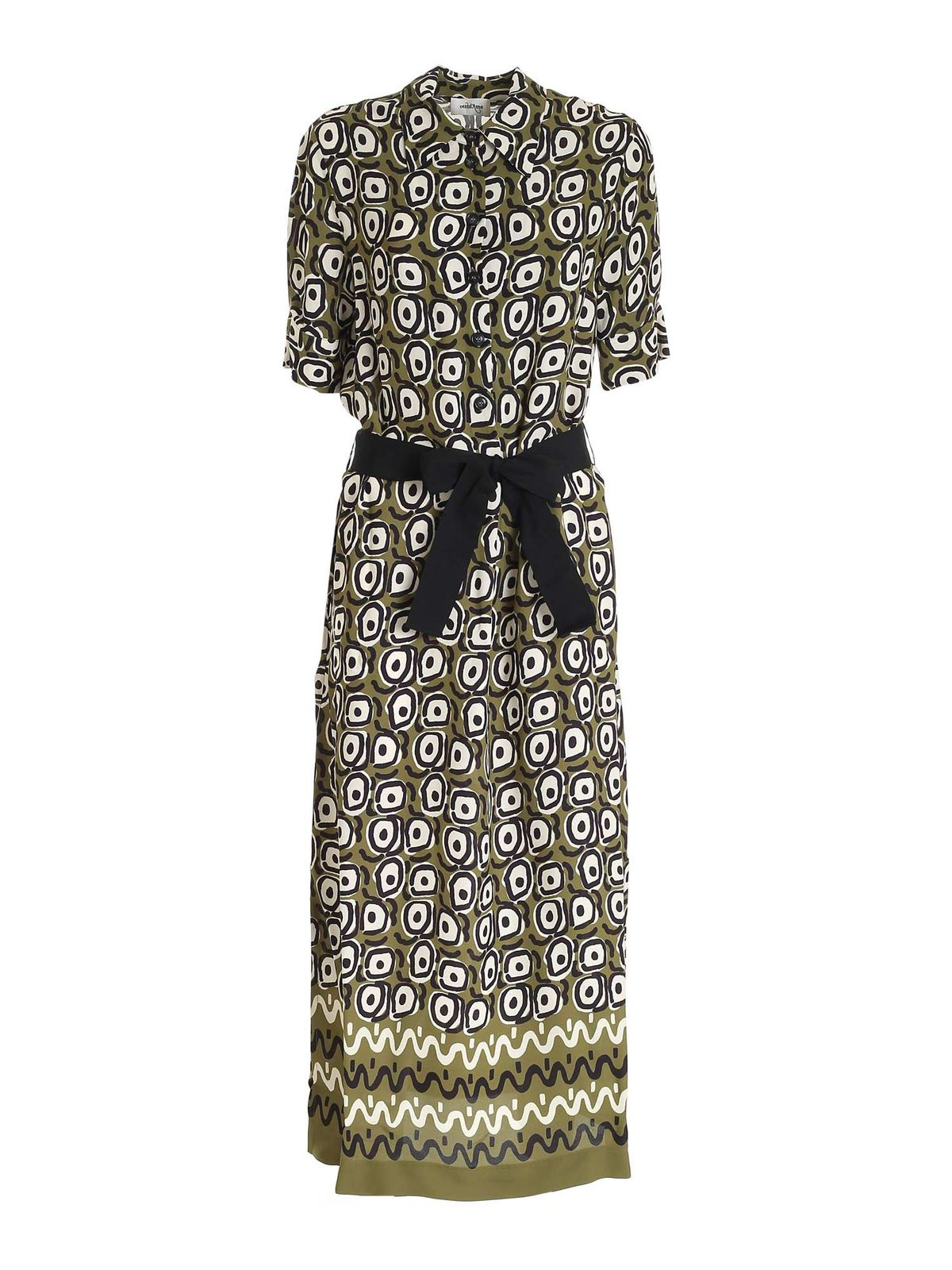 Ottod'ame PRINTED DRESS IN KHAKI BLACK AND CREAM COLOR