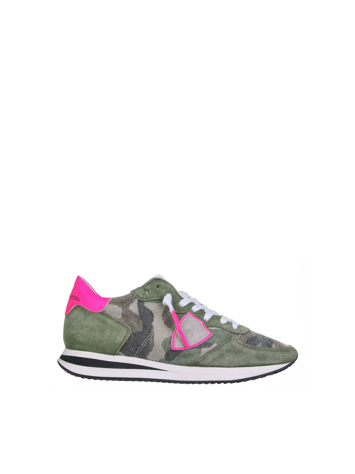 Philippe Model TRPX SNEAKERS IN CAMOUFLAGE AND FUCHSIA