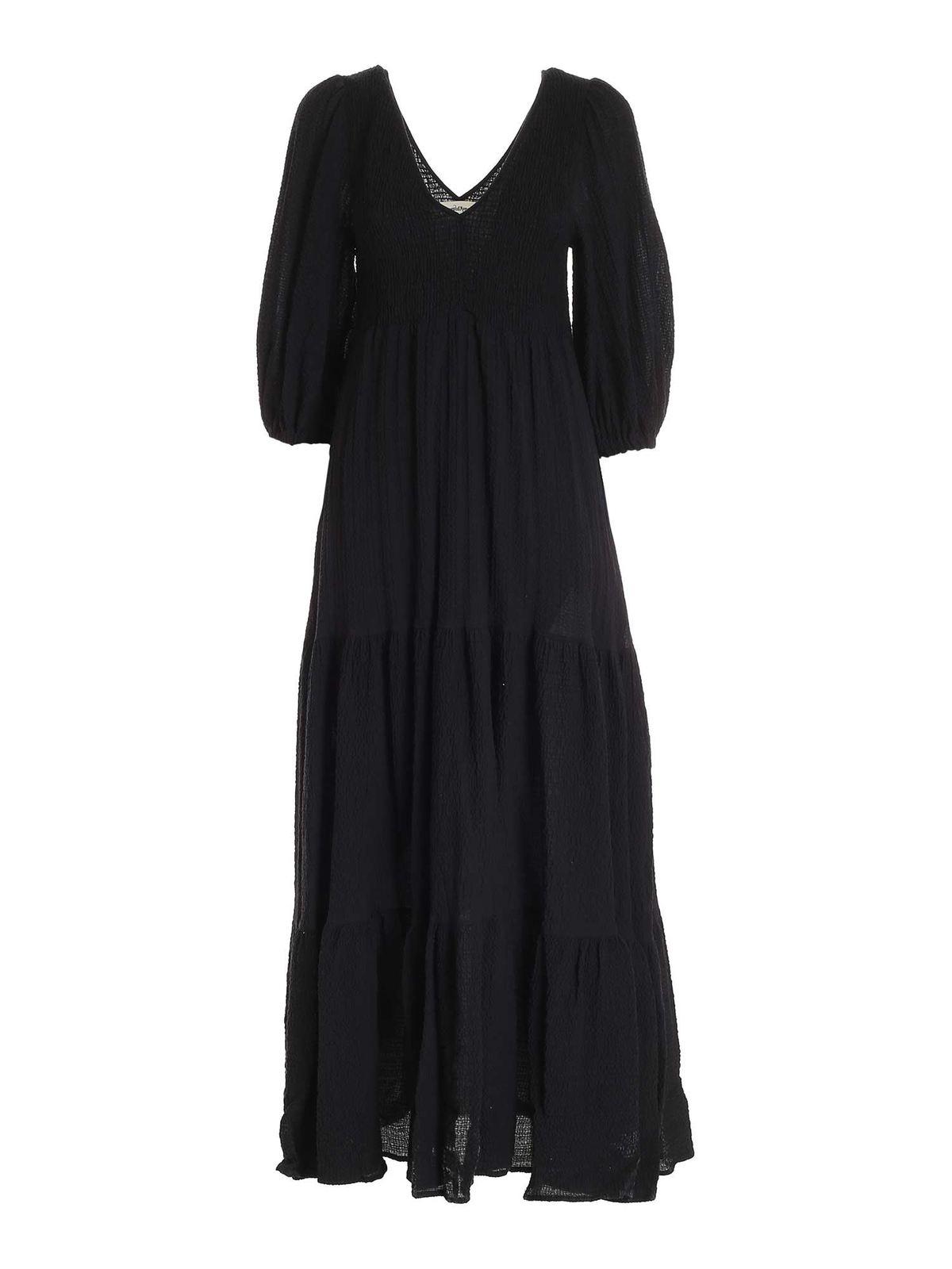 Ottod'ame SEERSUCKER DRESS IN BLACK