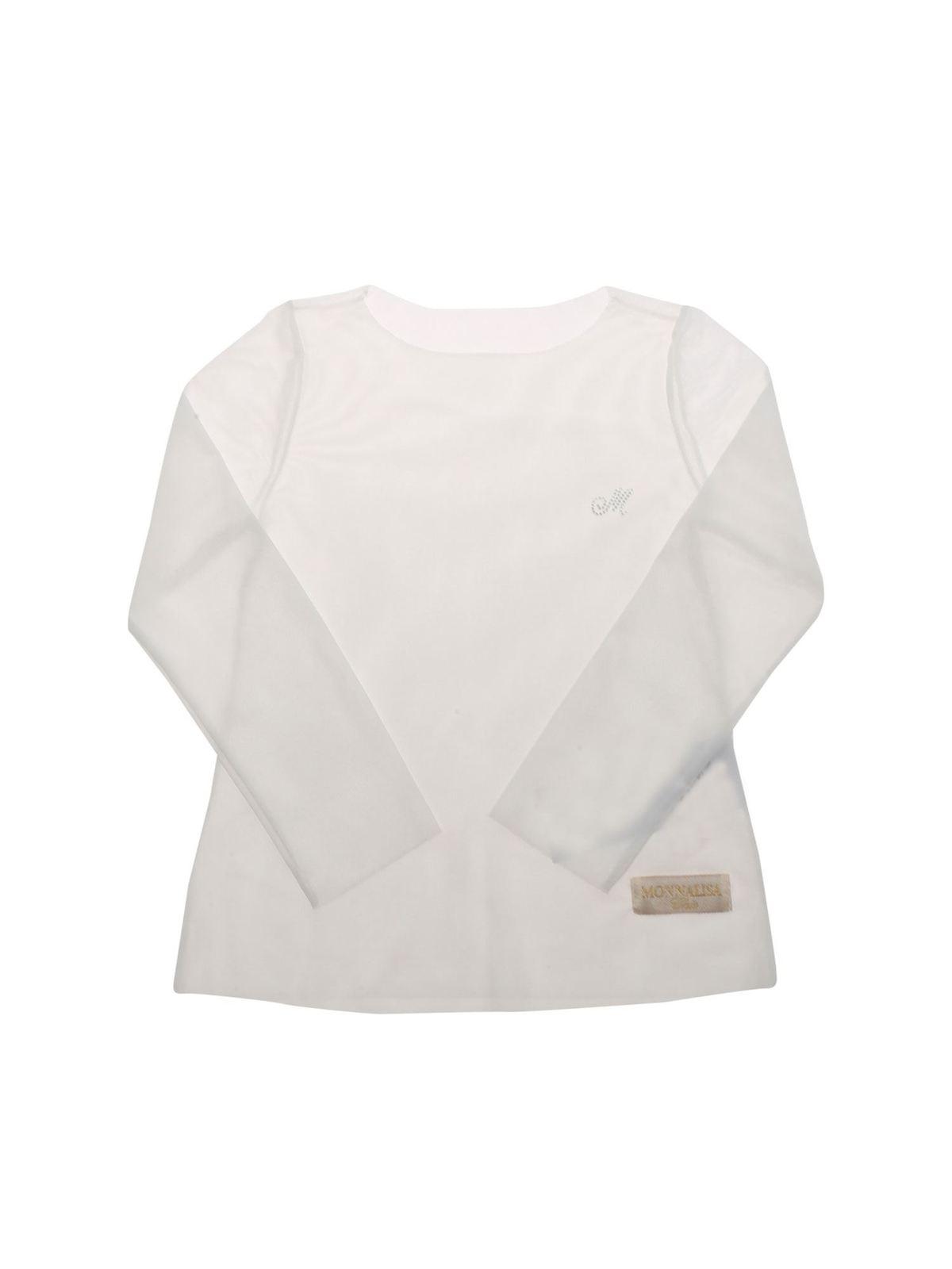 Monnalisa TULLE T-SHIRT IN WHITE