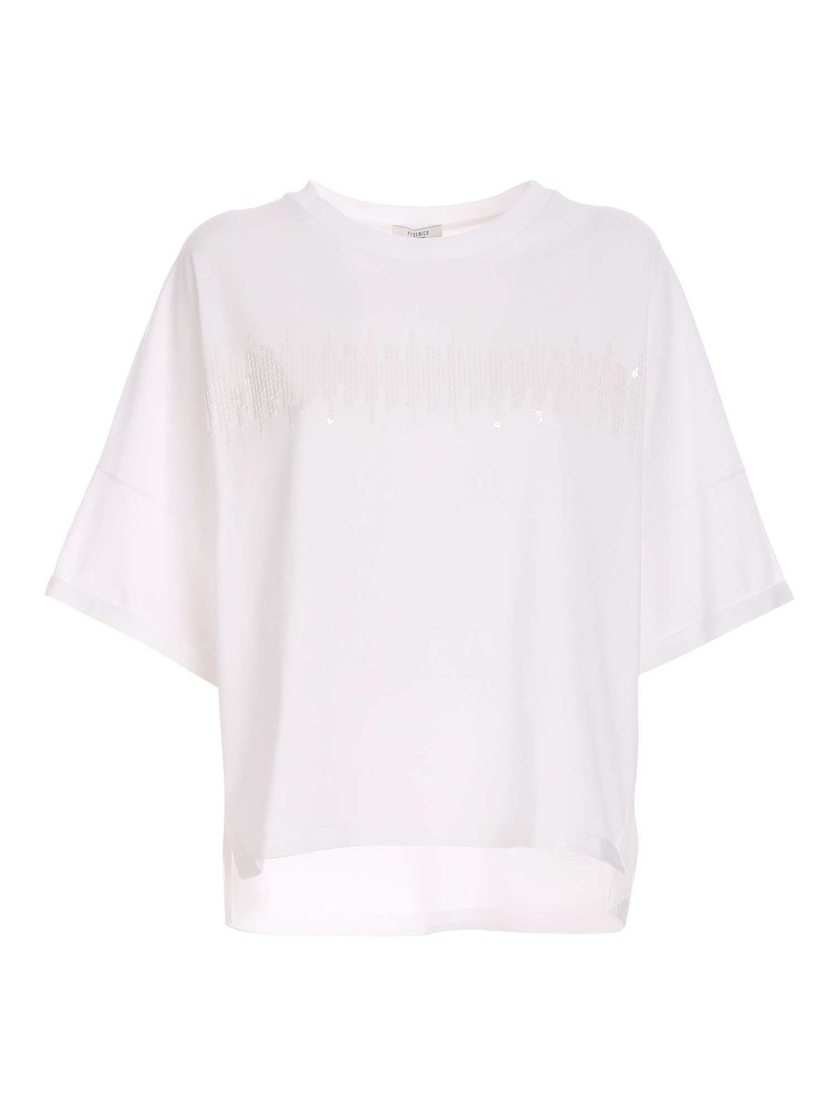 Peserico DROPPED SHOULDER SEQUINS T-SHIRT IN WHITE