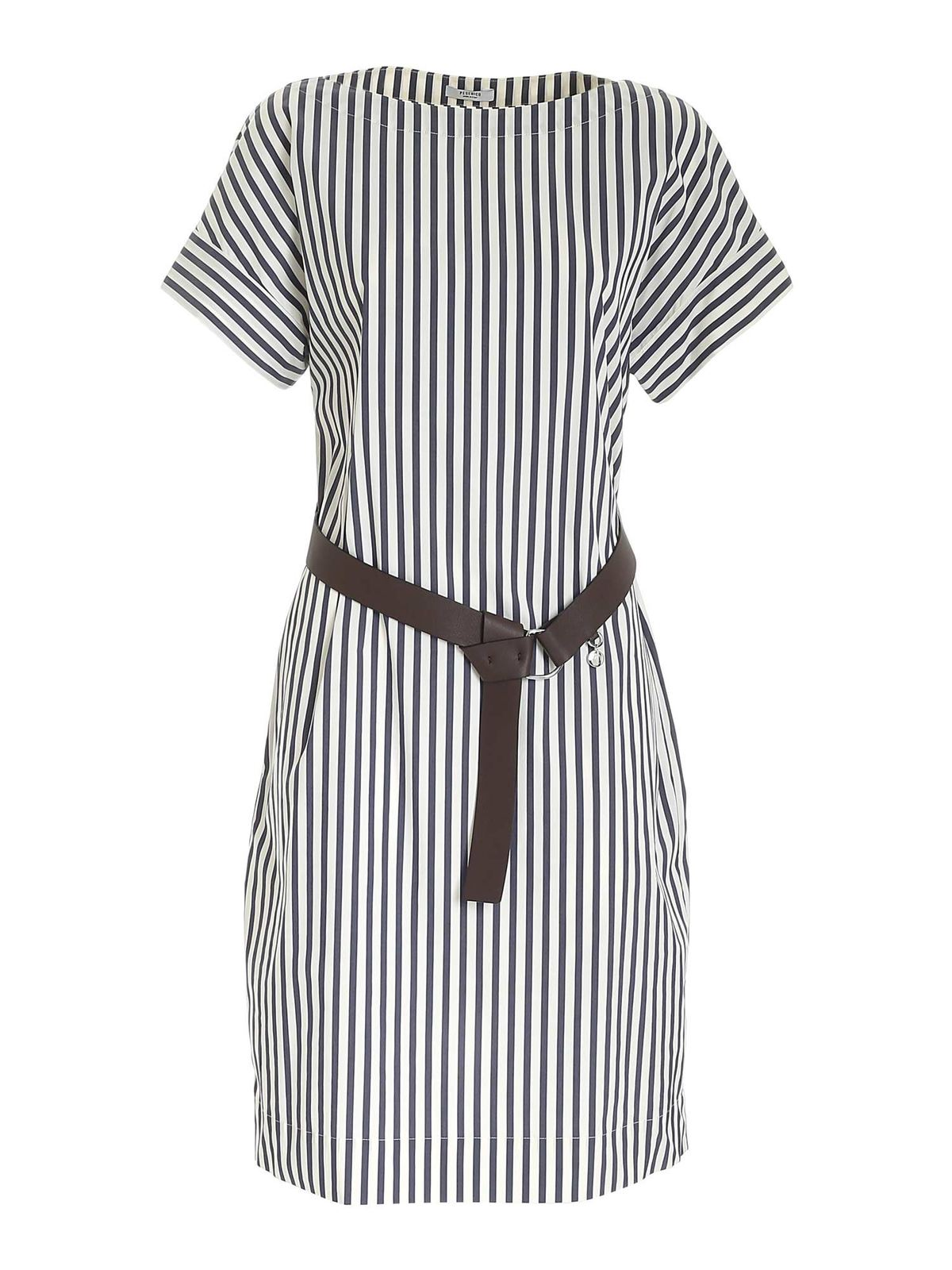 Peserico STRIPED DRESS IN WHITE AND BLUE