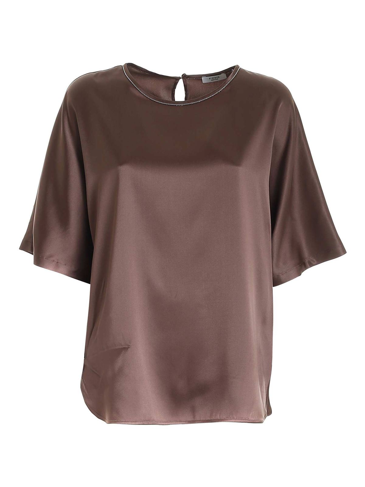 Peserico MICRO BEADS BLOUSE IN BROWN