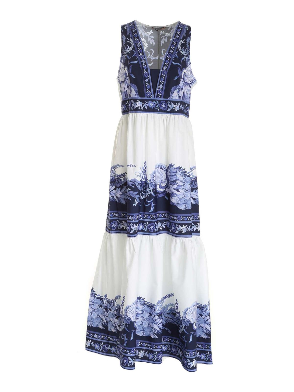 Twinset Maxi dresses FLORAL PRINT SLEEVELESS DRESS IN WHITE AND BL
